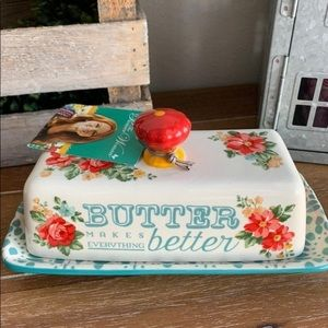 New Pioneer Woman floral butterdish